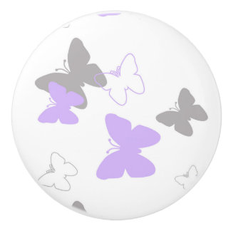 Butterfly Purple Lavender Gray Grey Baby Girl Ceramic Knob