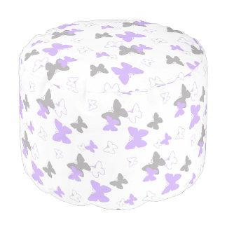 Butterfly Purple Lavender Gray Grey Girl Pouf