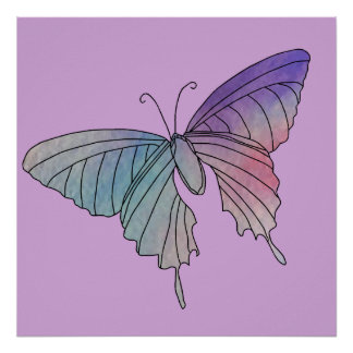 Butterfly Purple Lilac Pastel Colors Style Poster