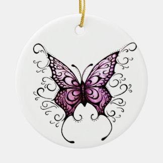 butterfly purple love ceramic ornament