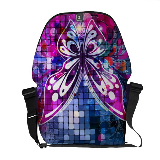 Butterfly Purple Vector Abstract Art Messenger Bags