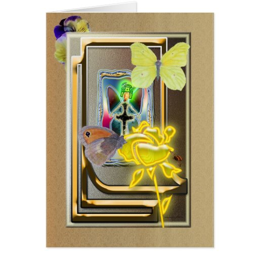 butterfly-queen with yellow rose card