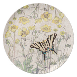 Butterfly Ranunculus Wildflower Flowers Plate