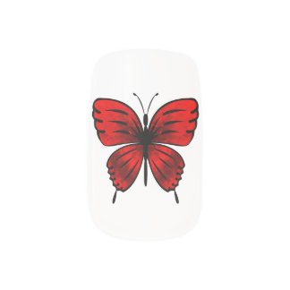 Butterfly red minx nail art