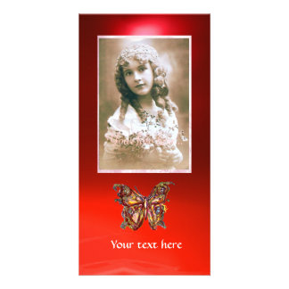 BUTTERFLY RED RUBY PERSONALIZED PHOTO CARD