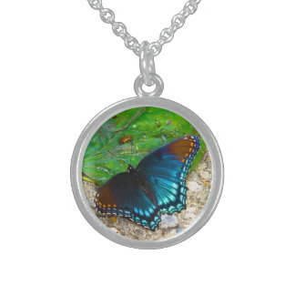 Butterfly Rests on Leaf Round Pendant Necklace