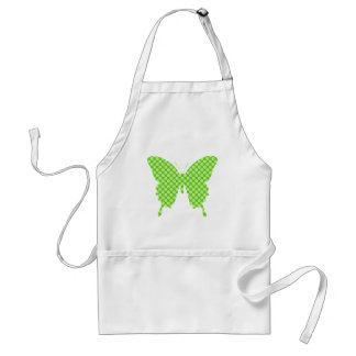 Butterfly, retro dots, shades of lime green adult apron