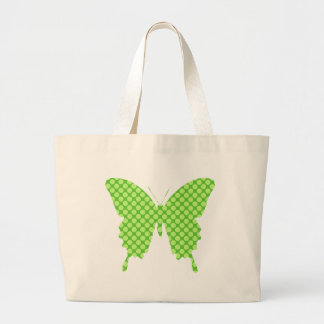 Butterfly, retro dots, shades of lime green tote bags