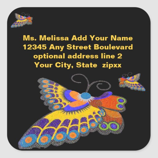 Butterfly Return Address Envelope Seals Square Sticker