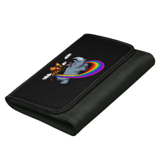 Butterfly Riding Rhino Magic Jungle Leather Wallet For Women