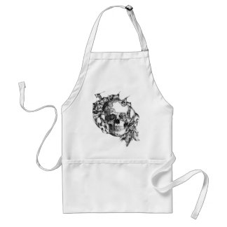 Butterfly Rose Skull from hand illustration Adult Apron