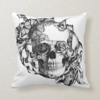 Butterfly Rose Skull from hand illustration Cushion