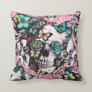Butterfly rose skull on pink lace. cushion