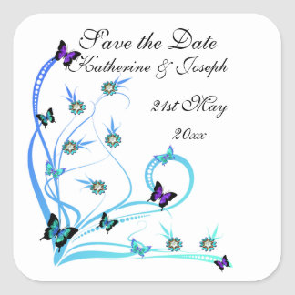 Butterfly Save the Date Square Sticker
