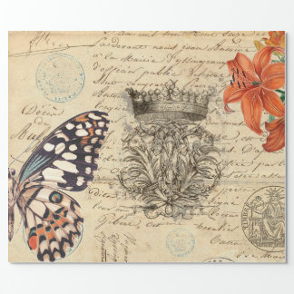 Butterfly Script Wrapping Paper
