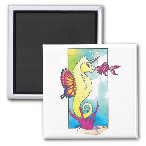 butterfly seahorse and fish fridge magnets