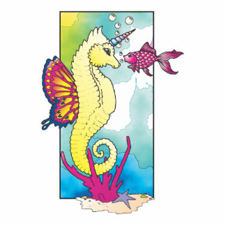 butterfly seahorse and fish photo cutout