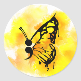 Butterfly semicolon sticker