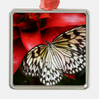 Butterfly Serenity Silver-Colored Square Decoration