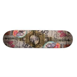 butterfly shabby chic vintage paris eiffel tower skateboard deck