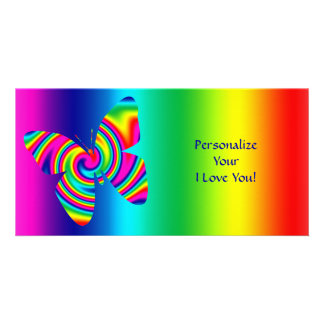 Butterfly Shaped Rainbow Twirl, I Love You! Personalized Photo Card