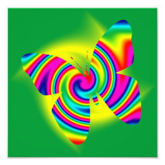 Butterfly Shaped Rainbow Twirl Photographic Print