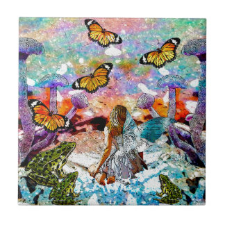 BUTTERFLY SHOW FOR FAE AND FROGS CERAMIC TILE