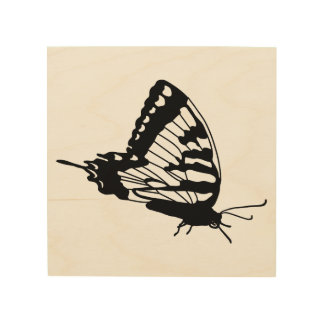 Butterfly Silhouette on wood Wood Print