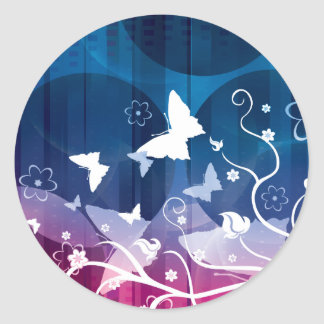 Butterfly Silhouettes Classic Round Sticker