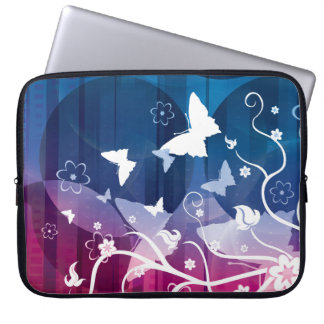 Butterfly Silhouettes on Blue and Purple Laptop Sleeve