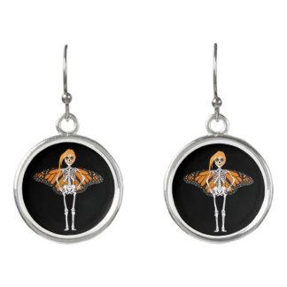 Butterfly Skeleton Fantasy Creature Earrings
