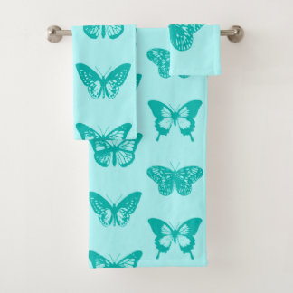 Butterfly sketch, aqua and turquoise bath towel set