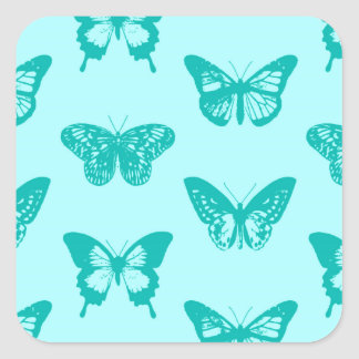 Butterfly sketch, aqua and turquoise square sticker