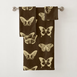 Butterfly sketch, beige on chocolate brown bath towel set
