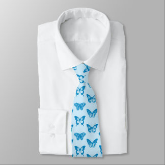 Butterfly sketch, cerulean and sky blue tie