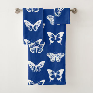 Butterfly sketch, cobalt blue and white bath towel set