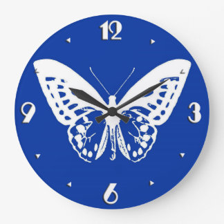 Butterfly sketch, cobalt blue and white wallclocks