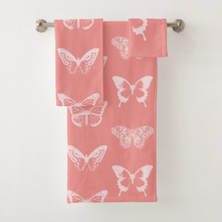 Butterfly sketch, coral pink bath towel set