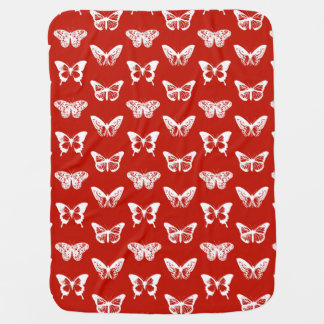 Butterfly sketch, deep red and white buggy blanket