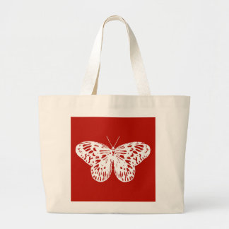 Butterfly sketch, deep red and white canvas bag