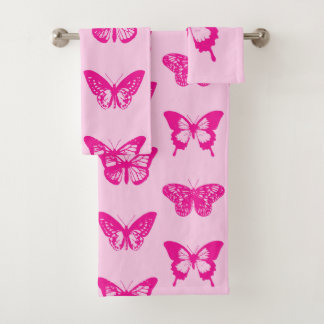 Butterfly sketch, light pink and fuchsia bath towel set