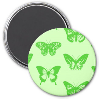 Butterfly sketch,  lime green refrigerator magnet