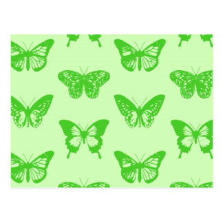 Butterfly sketch,  lime green postcard
