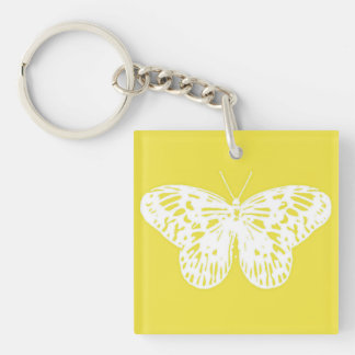 Butterfly sketch, mustard gold and white key ring