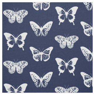 Butterfly sketch, navy blue and white fabric
