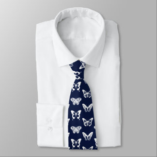 Butterfly sketch, navy blue and white tie