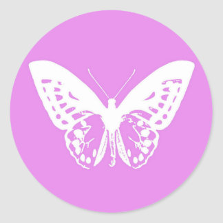 Butterfly sketch, orchid and white round sticker