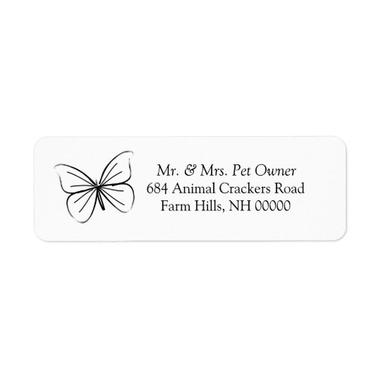Butterfly Sketch Return Address Labels Stickers