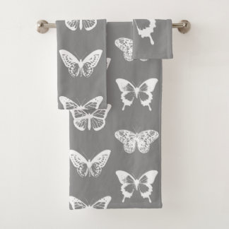 Butterfly sketch, silver grey and white bath towel set