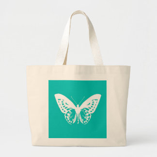 Butterfly sketch, turquoise and white bag